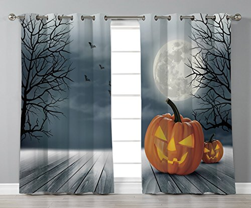 Satin Grommet Window Curtains,Halloween,Cold Foggy Night Dramatic Full Moon Pumpkins on Wood Board Trees Print,Grey Orange Black,2 Panel Set Window Drapes,for Living Room Bedroom Kitchen Cafe for $<!--$45.99-->