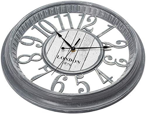 Bernhard Products Large Wall Clock 16 Inch Gray Noiseless Battery Operated Quality Quartz Rustic Farmhouse Shabby Chic… 3