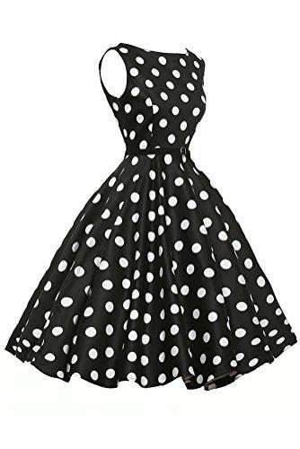Sisiyer Women's Vantage Polka Dot Bohemian Print Dress Keyhole with Belt Multicolor2 Small