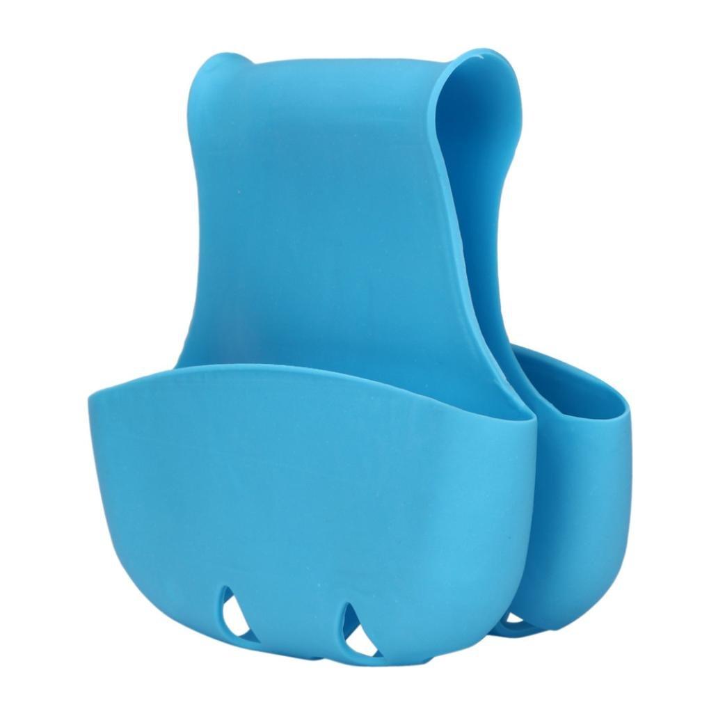Iuhan Fashion Double Sink Caddy Saddle Style Kitchen Organizer Storage Sponge Holder Rack Tool (Blue)