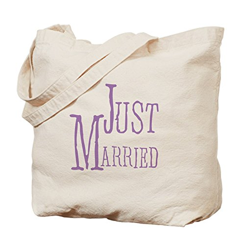 Cafepress – lilla testo Just Married – Borsa di tela naturale, tessuto in iuta