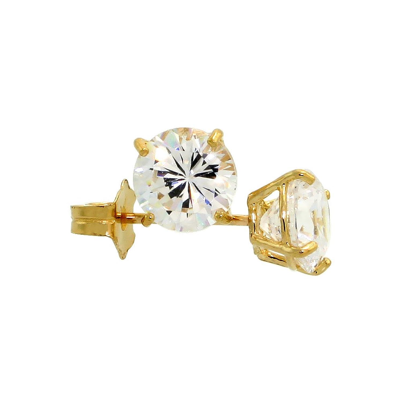 Amazon.com: 14k Yellow Gold Cubic Zirconia Earrings Studs 5 mm ...