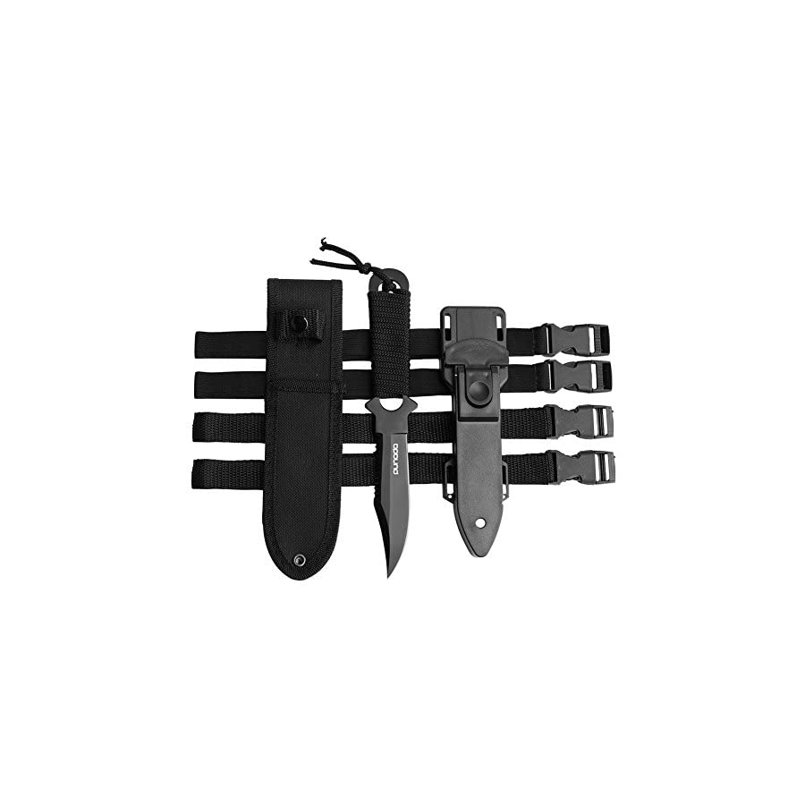 Scuba Diving Knife with Leg Straps 2 Pairs, Black Tactical Knife with 2 Types Sheath, Stainless Steel Diving Knives for Scuba Diving, Spearfishing, Snorkeling, Hiking, Outdoor Use