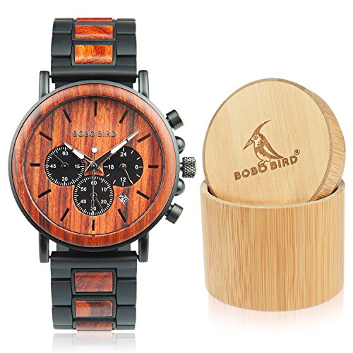 sual Wrist Watch, Wood & Stainless Steel Watch with Luminous Pointers, Classic Analog Watches with Gift Box ()