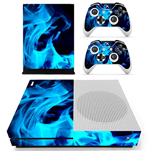 SKINOWN Xbox One S Slim Skin Blue Flame Sticker Vinly Decal Cover for Xbox One Slim(XB1 S) Console and 2 Controller Skins