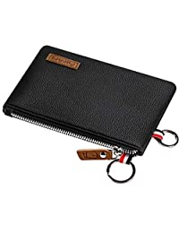 FurArt Genuine Leather Coin Purse, Dual Rings Change Purse with Zipper, Soft Coin Pouch, Inner Pocket, Mini Size (Litchi Leather Black)