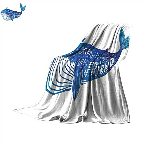 (smallbeefly Whale Digital Printing Blanket Kind of Ocean is My Best Friend Quote with Whale Fish Paintbrush Artsy Picture Summer Quilt Comforter 90