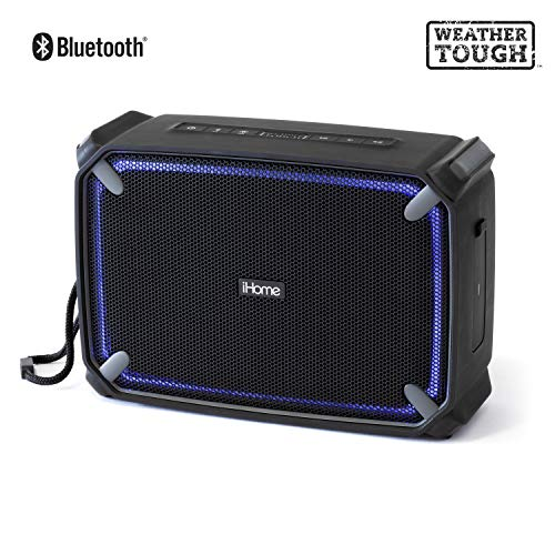- iHome iBT374 Weather Tough Portable Rechargeable Bluetooth Speaker with Speakerphone, Accent Lighting and USB Charging Port - Featuring Melody, Voice Powered Music Assistant