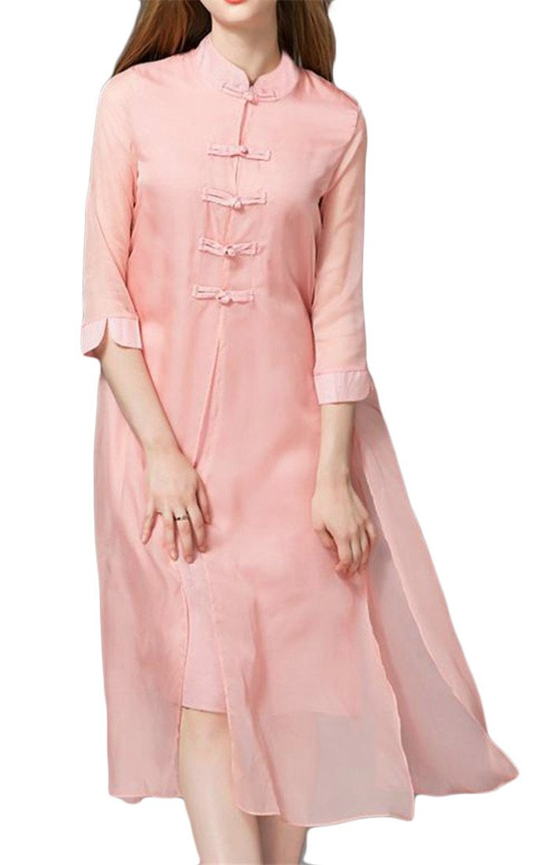 Etecredpow Women Split Classic Button Silk Cheongsam 3/4 Sleeve Swing Dress Pink XXS
