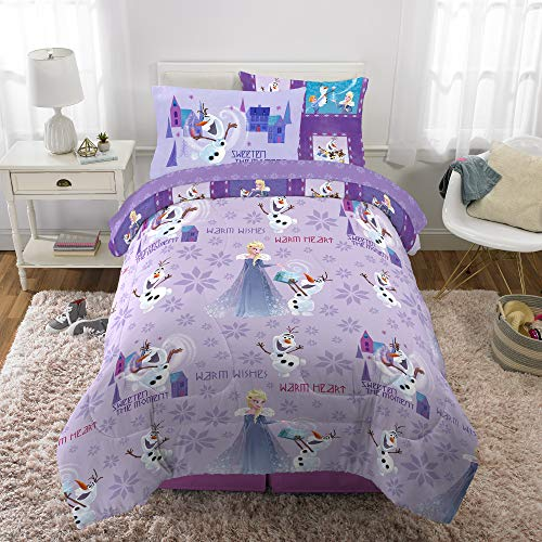 Franco Kids Bedding Super Soft Comforter and Sheet Set with Bonus Sham, 5 Piece Twin Size, Disney Frozen (Frozen Bed Twin Set)