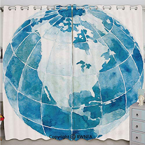 Justin Harve window Hand Drawn Watercolor Style Globe Sphere with North America Continent Paint Effect Bedroom Living Room Curtain Set of 2 Panels(100