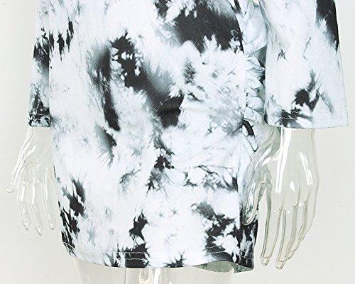 Vintage Impresión Vestido de Gris la Mini Digital Mujeres Larga Bodycon Vestido de Manga Xwqn0fp