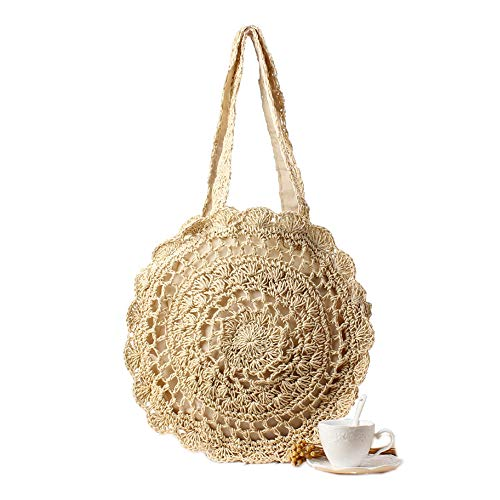 Women's Straw Handbags Large Summer Beach Tote Woven Round Pompom Handle Shoulder Bag ()