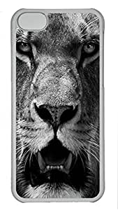 Shell Case for iphone 5C with The Lion Close-Ups DIY PC Transparent Hard Skin Case for iphone 5C