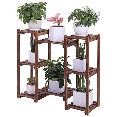 Pine Wood Plant Stand Indoor Outdoor Multi Tiered Flower Rack Corner Plant Pot Shelf Vertical Plant Holder Display Shelves for Patio Garden Balcony (Multiple Combination,Rustic,Heavy Duty)