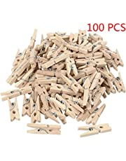 Pegcdu 100PCS 2.5x0.3cm Mini Naturale Clip di Legno per mollette Decorative Foto Papers