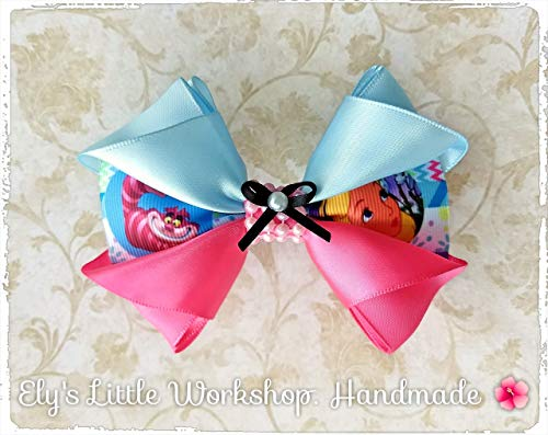 (Alice In Wonderland Hair Bow, inspired in Disney character. 100% Handmade, Satin, Unique,)