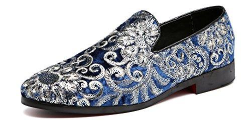 Men's Luxury Penny Loafers Slip-On Designer Moccasins Sparkling Embroidery Flower Wedding Shoes (10, Blue) (Best Designer Wedding Shoes)