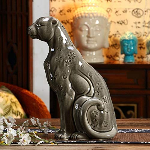 Statues Figurines Sculptures,Gray Chinaware Porcelain Panther Figurine Handmade Ceramics Leopard Statue Wild Life Decoration Art and Craft Gift Ornament ()