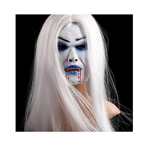 [Xgunion Latex Creepy Scary Halloween Toothy Zombie Ghost Mask with Hair (Style 2)] (Creepy Kids Costumes)