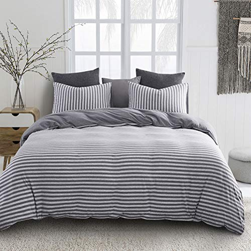 Wake In Cloud - Jersey Cotton Duvet Cover Set, Gray Striped Stripes, Solid Plain Grey Color on Reverse, Comfy Soft Knit T-Shirt Jersey Bedding with Zipper Closure (3pcs, Queen -