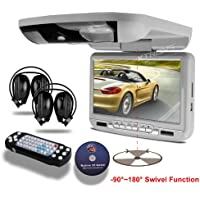 XTRONS® 9-inch Grey Flip Down Monitor and DVD Player with Wireless FM&IR Transmitter IR Headphones