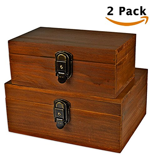 [Mustard 2 Sets] Wood Storage Box Kit Wooden Boxes Card Document Archival Jewelry Trunks Case Cabinet Container with Lock and Key Western Rustic for Keepsake Silverware Organizer Album Collection