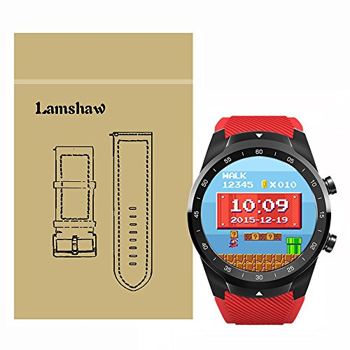 for TicWatch Pro Band, Lamshaw Classic Silicone Replacement Band for TicWatch Pro Bluetooth Smart Watch (Red)