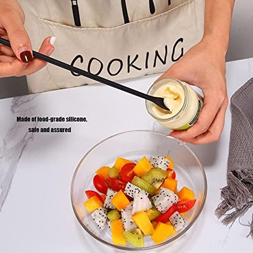 Silicone Spatula Makeup Spatula Food Grade Heat Resistant Mini Rubber Spatula Thin Jar Scraper Set- 8 Pieces (black)