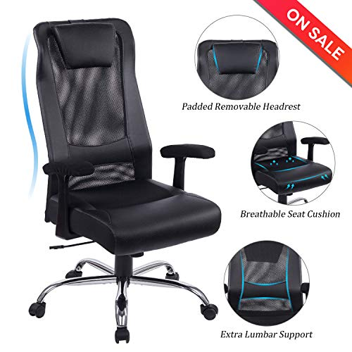 VON RACER Mesh & Leather Office Chair – Ergonomic Computer Desk Task Chair with Removable Headrest and Padded Leather Lumbar Support, Black