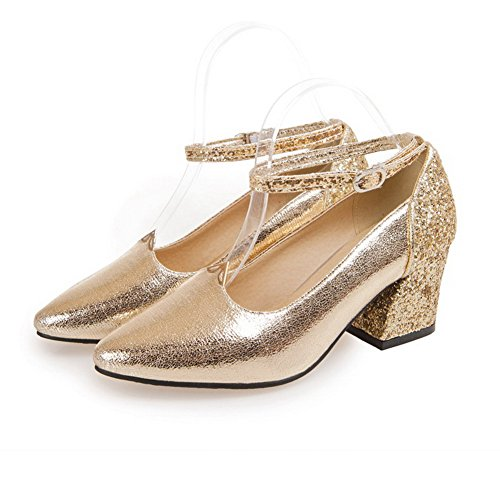 Odomolor Women's Blend Materials Kitten Heels Pointed Closed Toe Buckle Pumps-Shoes Gold PnMLOY