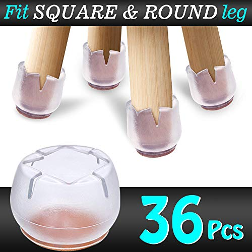 36pcs Chair Leg Caps Silicone Floor Protector Furniture Table Feet Covers,Fit Both Round & Square Chair Leg