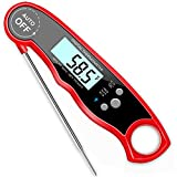 grill meat thermometer digital - GDEALER Waterproof Digital Meat Thermometer Super Fast Instant Read Thermometer BBQ Thermometer with Calibration and Backlit Function Cooking Thermometer for Food, Candy, Milk, Tea, BBQ, Grill Smokers