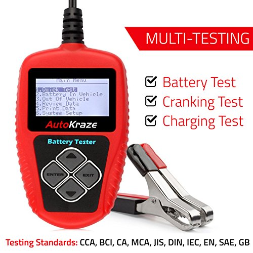 AutoKraze BA101 Automotive Battery Load Tester 12V 100-2000 CCA Bad Cell Test Analyzer Tool Directly Test Car, Boat, and Motorcycle Battery Status Portable, Digital and Rechargeable Battery Tester by AutoKraze (Image #1)
