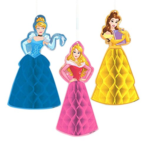 Amscan Disney Princess Dream Big Birthday Party Honeycomb Decoration (3 Piece), Multicolor, One Size - Birthday Party Honeycomb