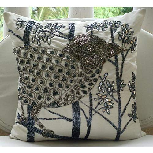 Pillow Covers White 18 x 18 inches, Designer Ivory Pillows Cover, Sequins & Beaded Bird Pillow Covers, Square Silk Pillowcase, Floral Contemporary Decorative Pillows Cover - Birdy Heaven