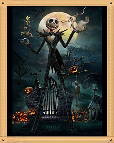 Full Drill 5D DIY Diamond Painting by Number Kits Embroidery Rhinestone Pasted Cross Stitch Handcraft Arts Craft Home Decor for Halloween - Skull Ghost Pumpkin 12x16inch