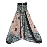 Harem Pants Women's Hippie Bohemian Yoga Pants One Size Aladdin Harem Hippie Pants Jumpsuit Smocked Waist 2 in 1 (Free, White)