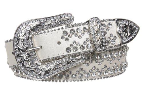White Metallic Rhinestone Buckle (Snap On Western Cowgirl Rhinestone Studded Metallic Leather Belt Size: M/L - 38 Color: white)