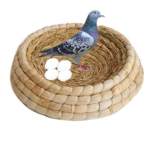 - kathson Bird Nest Handmade Natural Woven Grass Breeding Bed Box,Parrot Nesting Box Cage Hatch House Hut for Parakeet Cat Dog Rabbit Bunny Dove Hamster Gerbil Chinchillas