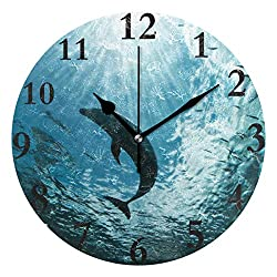 HangWang Wall Clock Ocean Dolphin Sea Silent Non Ticking Decorative Round Digital Clocks Indoor Outdoor Kitchen Bedroom Living Room