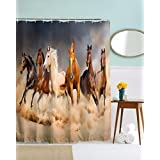 """A.Monamour Brown Khaki Color Backgrounds Six Horse Running Rural Country Scenery Animal Print Fabric Polyester Waterproof Eco-Friendly Shower Curtain For Bath Décor 180X200 Cm / 72"""" X78"""""""