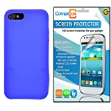 CoverON® Apple Iphone 5S / 5 Silicone Rubber Soft Skin Case Cover Bundle with Clear Anti-Glare LCD Screen Protector - Blue