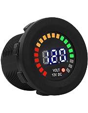 Kit de voltímetro de pantalla LED, 12V Monitor de batería voltímetro de LED digital impermeable DC con conectores de terminal, para barco Vehículo marino Moto Camión Atv Utv