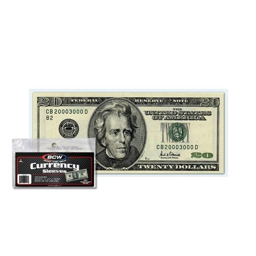 (BCW US Currency Clear Sleeves for Regular Bills | 2-MIL Thickness | 6-1/4