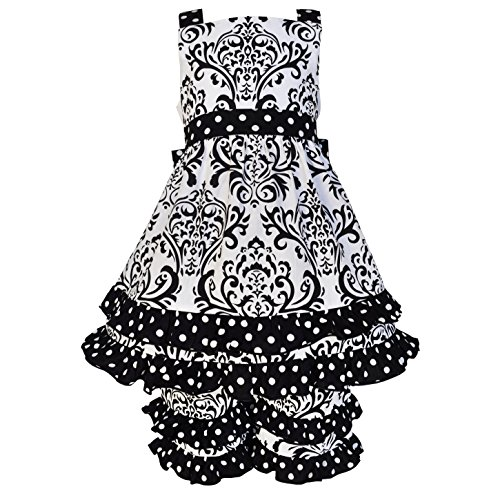 AnnLoren Baby Girls sz 18-24 mo Black & White Damask & Dots Dress Outfit