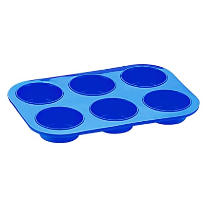 Silico Cupcake Mould 6 Cup Silicone Bakeware for Cupcakes Muffin Mold Blue BakeWare (Sc-016_B) Baking Tools & Accessories at amazon