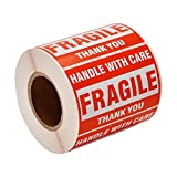 """[12 Rolls, 6000 Labels] 2"""" x 3"""" Fragile Stickers Handle with Care Warning Packing/Shipping Labels - Permanent Adhesive"""