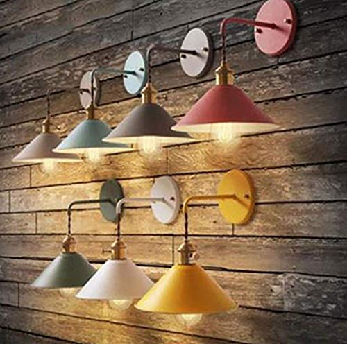 (Chandeliers Wall Lamp Sconces Appliance with on Off Switch Macaron E26 Light Holder Edison Copper Body Paint Frosted Bedside Lighting,D, Household)