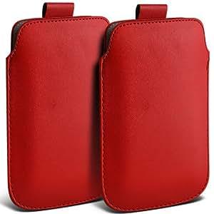 Nokia Lumia 925 premium protección PU ficha de extracción Slip Cord En cubierta de la bolsa del bolsillo de la funda roja por (Twin Pack) Spyrox